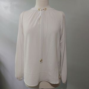 NWT Michael Kors White Blouse with Gold Hardware S
